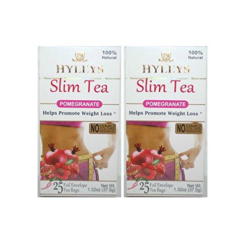 Hyley's Pomegranate Slim Tea 25 Foil Envelopes PACK OF 2