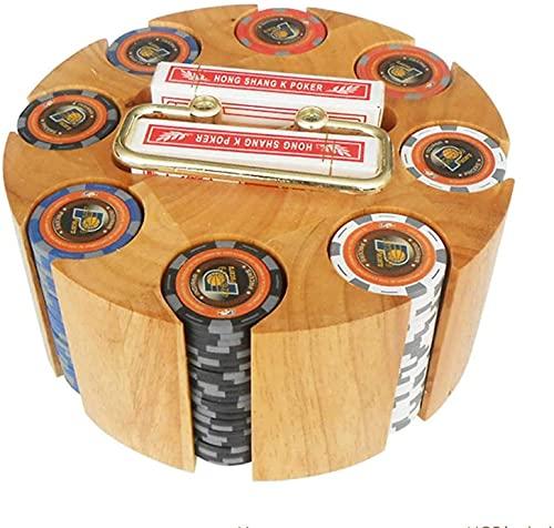 Vassoio per fiches da poker rotante, custodia per giostra in legno con capacità di 300 fiches, set di fiches da poker, accessori per feste di casinò per blackjack, Texas Holdem, giochi per famiglie.