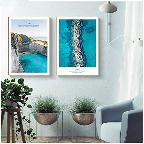 RuiChuangKeJi Cuadros de la Pared 2x60x80cm con Marco Escandinavo Azul Océano Mar Paisaje Arte de la Pared Poster Nordic Nature Print Painting Picture Home Decor