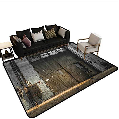 MsShe Slaapkamer tapijt Industriële, Enter van een Oude Fabriek Gebouw uit de jaren 50 Gebroken Roestige Deur Lege Opslag foto, Grijs Bruin