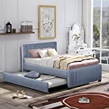 SOFTSEA Upholstered Platform Bed Frame with Headboard, Full Size Trundle Bed for Kids Teens No Box Spring Needed