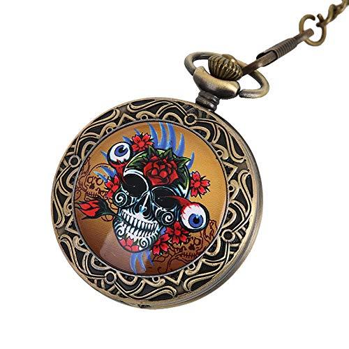 Superficie de cerámica de encaje clásico grande 骷髅 Patrón de bolsillo reloj...