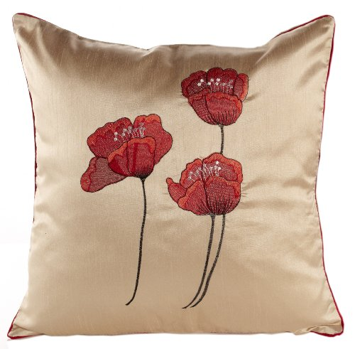 Poppies Cream & Red Piped Faux Silk 18' Cushion Cover
