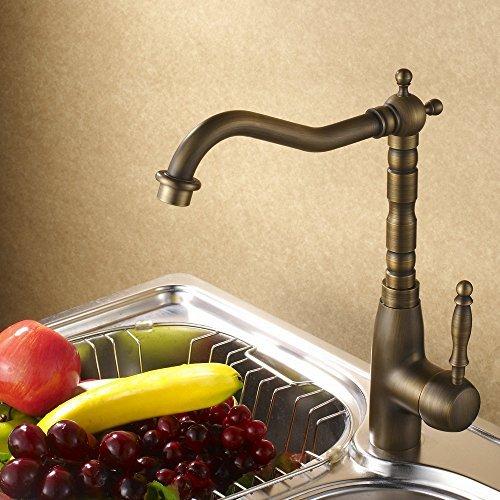 Hiendure Classic Antique Brass Finish Kitchen Faucet Centerset Sink Tap Copper