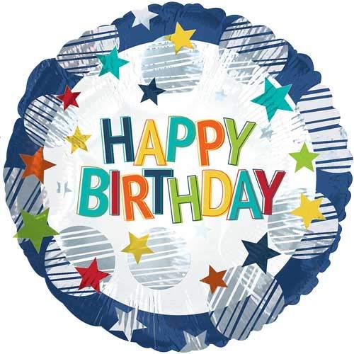 Suki Gifts S9117809 Ballon d'anniversaire en forme d'étoiles Inscription Happy Birthday Multicolore