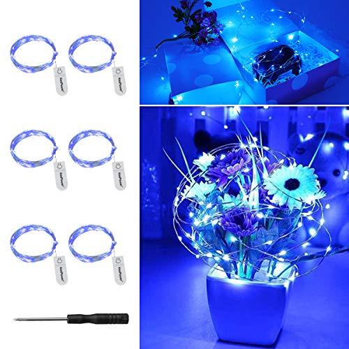 LED Lichterkette Batterie mit CR2032,KooPower 6Stk 2M 20er Mini Lichterketten IP65 Wasserdicht Sliver Drahtlichterkette Blau Micro Led Lichterkette mit Batterie für Party Garten Weihnachten Halloween