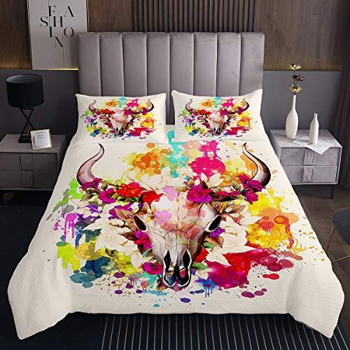Colcha de calavera de toro, bohemia con diseño de esqueleto floral para niños y niñas y mujeres, juego de edredón con 2 fundas de almohada, 3 piezas de ropa de cama King
