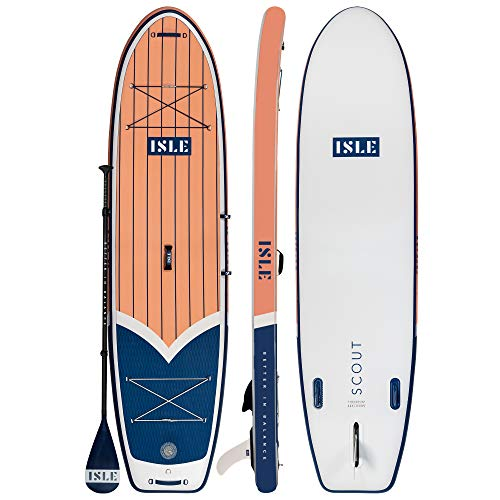 """ISLE 11' Scout - Inflatable Stand Up Paddle Board - 6"""" Thick iSUP and Bundle Accessory Pack - Durable and Lightweight - 33"""" Stable Wide Stance - Up to 315 lbs Capacity (Coral, 11')"""