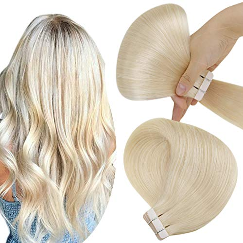 Hetto 16pollice/40cm Blonde Human Hair Extensions PU Tape Seamless Tape in Remy Hair Extensions 60 Bionda Platino Real Blonde Hair Extensions Skin Weft Extensions 20pcs/50g