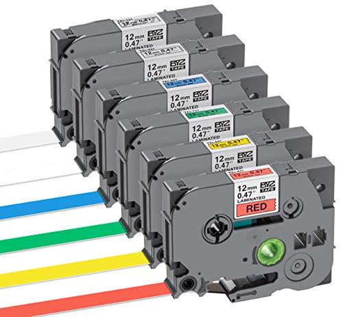 6 Pz Nastro Cassette Etichette Diversi Colori 12mm x 8m Nastri per Etichettatura Brother TZe Tape Stampanti Compatibile per Brother P-Touch PT-1000, Nero su Bianco Rosso Blu Giallo Verde Trasparente