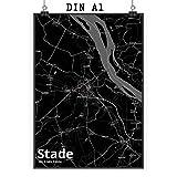 Mr. & Mrs. Panda Poster DIN A1 Stadt Stade Stadt Black -