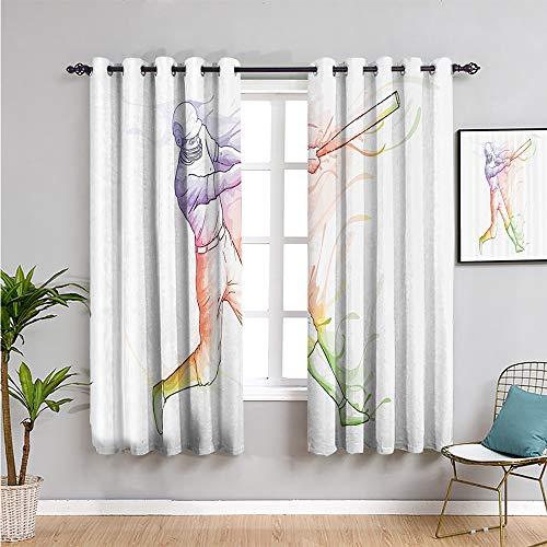 Xlcsomf Decoración deportiva impresa para dormitorio, cortinas de 183 cm de largo para sala de estar o dormitorio multi ancho 63 x largo 72 pulgadas