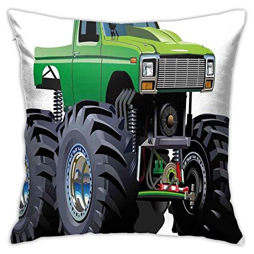 baoan Funda de cojín con diseño de monstruo gigante Piup Tru con neumáticos grandes y suspensión de la rueda más grande de 18 x 18 pulgadas