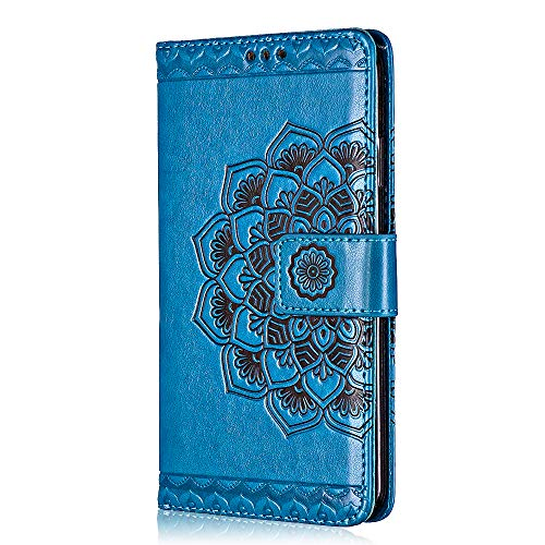 Sony Xperia XA Hülle, Bear Village® Leder Flip Hülle Weich Silikon Back Case Brieftasche Handyhülle mit Magnetverschluss und Standfunktion für Sony Xperia XA (#6 Blau)