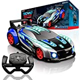 Force1 Techno Racer Remote Control Car for Kids - LED RC Car, High Speed Race Drift Car Toy with Music, Engine Sounds, Light Up Car Shell, and Easy Remote Control (Blue)