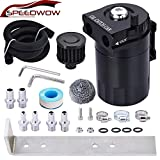 SPEEDWOW Oil Catch Can Air Breather Tank Filter Baffled With Hose Kit Universal Black