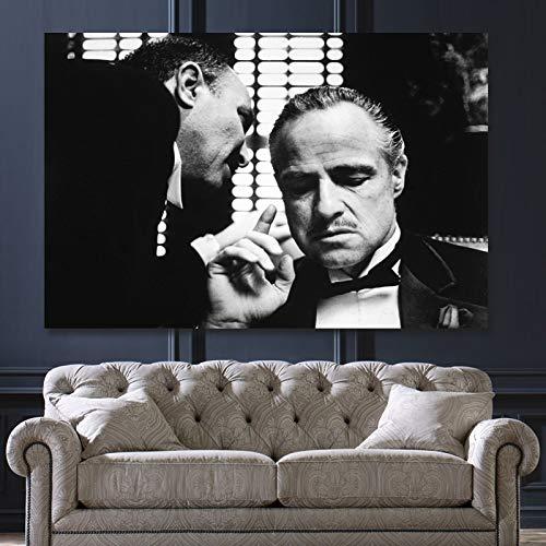 Frameloos Retro zwart-wit Godfather Canvas Print schilderij Wall Art foto's voor woonkamer Home Decor Poster en prenten