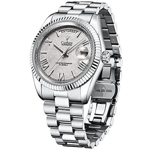 CADISEN Day-Date Homage Relojes mecánicos automáticos, movimiento MIYOTA 8285, cristal de zafiro, relojes de negocios de acero inoxidable, Meteorito,