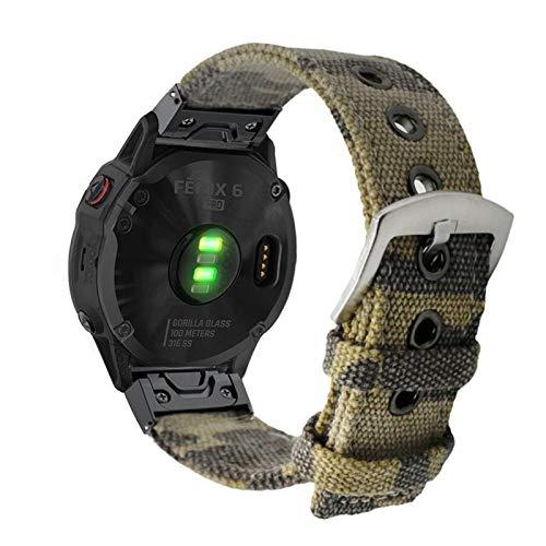 YOOSIDE Bracelet de montre Fenix 5 - 22 mm - En toile de camouflage - En acier inoxydable - À libération rapide - Pour Garmin Fenix 5/5 Plus, Approach S60, Quatix 5, Instinc, Forerunner 935