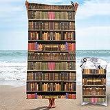 Lsjuee Books - Toalla de Playa de Microfibra para estantería, compacta, de Secado rápido, súper Absorbente, Ligera, Multiusos, sin Arena