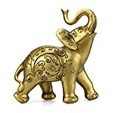 Animal Home Decor Cute Elephant Statue Hand-Made Sculpture Office Tabletop Decor Floral Designs L,Gold