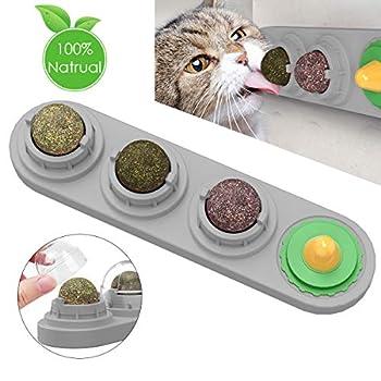 Ruqias Jouet Cataire pour Chats Boules Comestibles Boules Comestibles Léchage Rotatif Naturel Traite Jouets pour Chats Chaton Chaton (Gris)