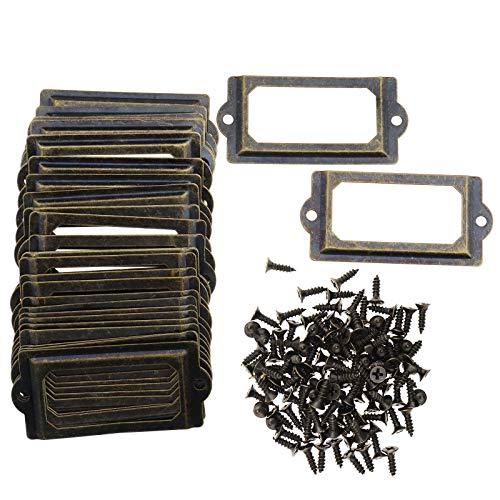 Create Idea 30 soportes para etiquetas para estantería, cajón, armario, cajón, cajón, tarjeta, con tornillo, 70 x 33 mm, bronce envejecido