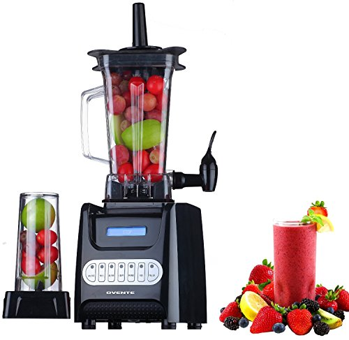 Ovente Kitchen Countertop Blender with Dispenser Stainless Steel Blade & 13.5 Ounce BPA-Free Portable Easy Clean Jar, 1000 Watt Base Powered Electric Mixer for Smoothie Protein Shakes, Black BLH1000B