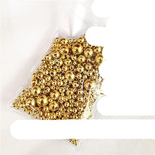 3 ~ 12 mm 1150 unids/lote blanco puro/negro agujeros rectos redondos imitación perlas de plástico para accesorios de joyería y fabricación de joyería-oro 1150pcs