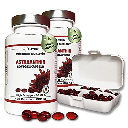 BIOTARY Astaxanthin 12mg, 240 Softgel Kapseln, mit Vitamin E, 16 Monatsvorrat, inclusive Pillenbox, 100{10da3166ece85fddec9b1db5cd12329a79aa39377f237f6e61dd35861f139f93} vegan, hohe Bioverfügbarkeit, Haematococcus Pluvialis, Laborgeprüft, Super-Antioxidans