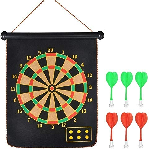 Promotion mall Double Faced Portable Magnetic Dart Game Board with Set of 6 Non Pointed Darts- Multi Color