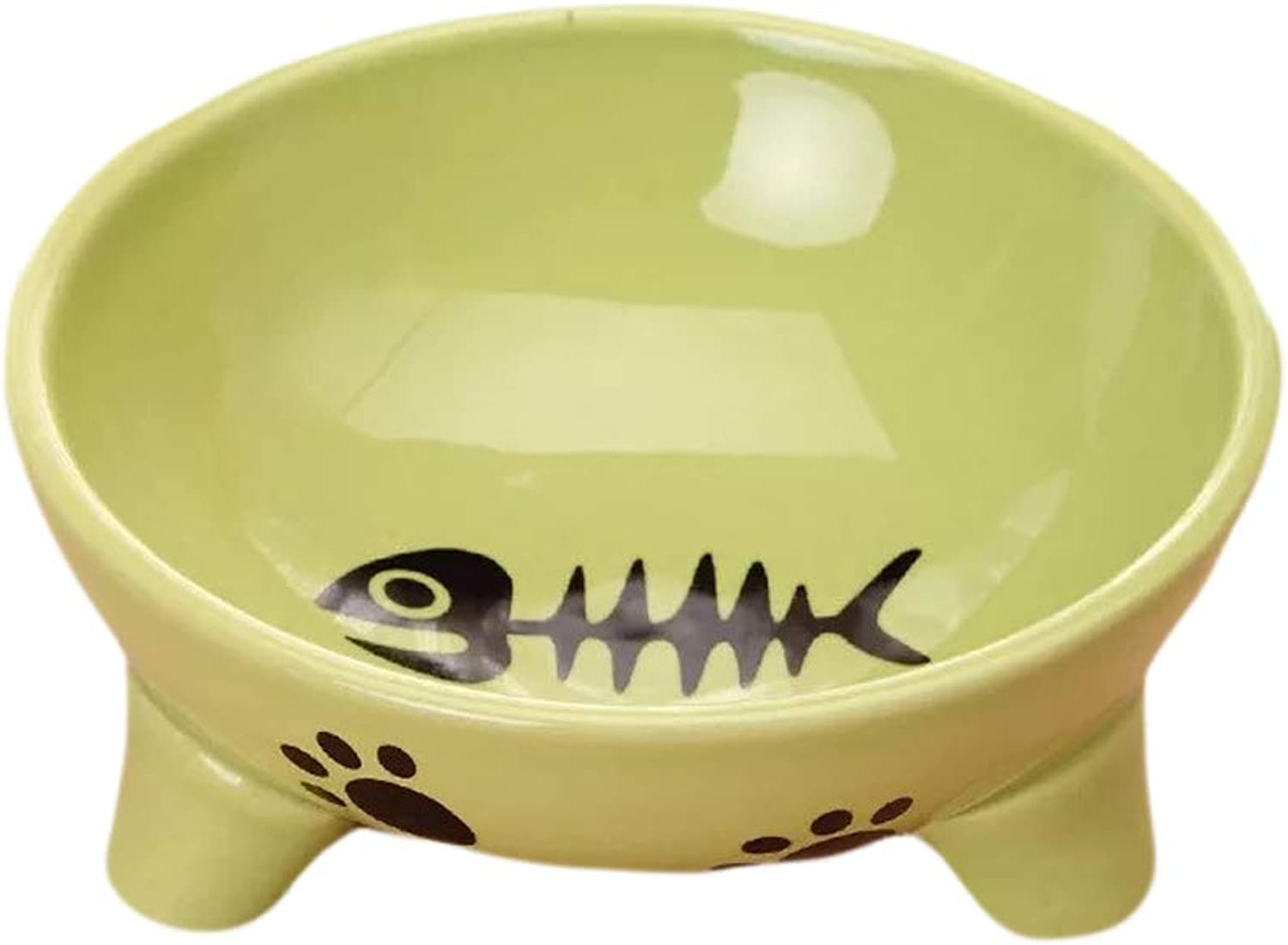 Ceramic Cat Food Bowl Wide Cat Food Dish Not Easy to Fall Over Non Slip Cat Feeding Bowl with Stylish Pattern Clean and Convenient Heavy Pet Bowl for Two colors Optional,Green