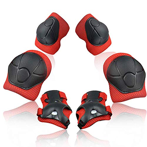 Children Protective Gear Set, 6pcs Adjustable Wrist Guards Protective Gear Kit for Roller Skating Skateboard Scooter Cycling Knee Pads (Red)