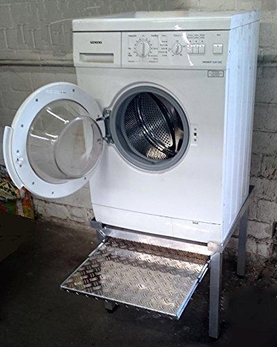 Original Mara Untergestell Waschmaschine Mara1 Premium mit 1 Teleskop-Auszug für Wäschekörbe 70 cm hoch yerstärkte Alu- Ausführung rappelfrei rostfrei für 1 Maschine
