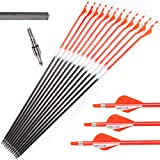 HYF 3K Pure Carbon Arrow Practice Hunting Arrows Spine 340 with Changable Arrowhead for Compound Bow & Recurve Bow Shooting (Pack of 12)