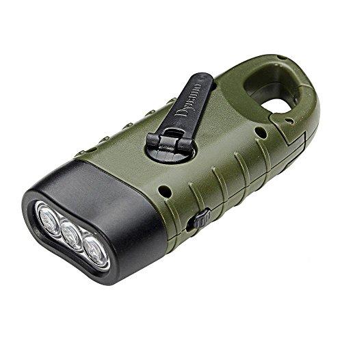 Pawaca Lampe de poche à LED, manivelle dynamo à énergie solaire avec mousqueton, pour camping bateau randonnée escalade pêche chasse.