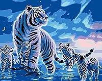 番号によるDiyペイント子供デジタルアダルトデジタルペイント子供デジタルアダルトペイントペイント絵画家の装飾ホワイトタイガーファミリー