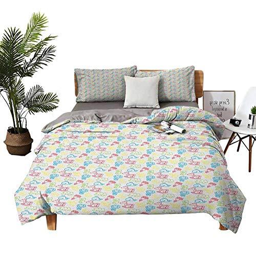 Dragon VINES Juego de sábanas de 4 sábanas de algodón con diseño de osos polares sentados para dormir con efecto de nieve, patrón de animales, azul pálido, blanco y azul