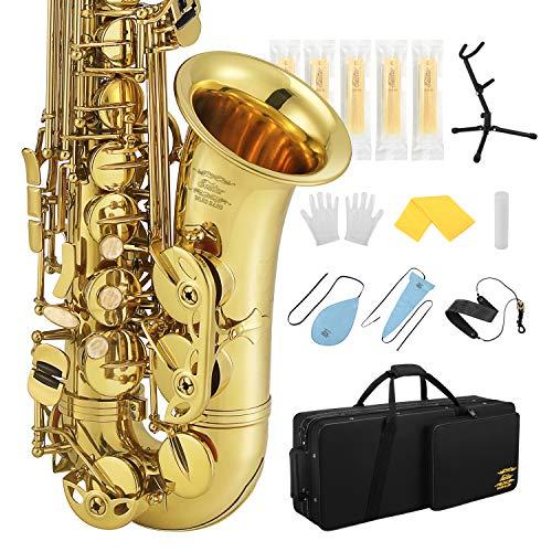 Eastar Altsaxophon Eb Professional Sax mit Saxophonständer,Tragetasche, Reinigungstuch, Mundstück, Halsband, Korkfett, Schilf, Gold Alt Saxophon-Komplettset, AS-Ⅲ