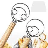 "2 Pack Danish Dough Whisk Mixer Blender, DEMALO 13.5"" Wooden Handle Bread Dough Hand Mixer for..."
