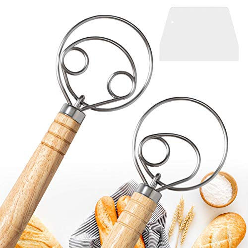 "2 Pack Danish Dough Whisk Mixer Blender, DEMALO 13.5"" Wooden Handle Bread Dough Hand Mixer for Baking, Kitchen Baking Tool Mixing Blender, Dough Whisk"