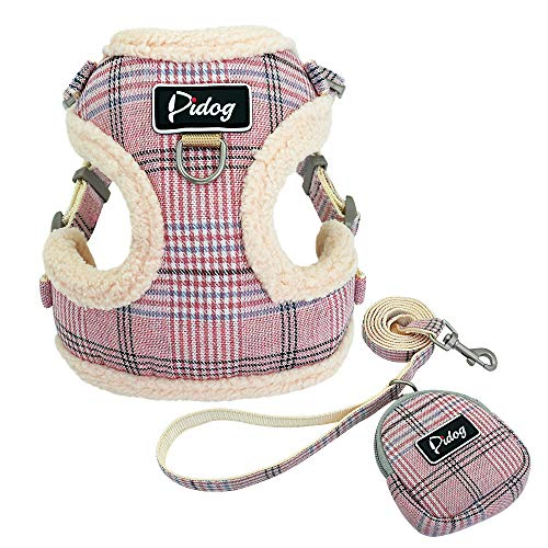 "Didog Soft/Cosy Dog Vest Harness and Leash Set with Cute Bags,No Pull Escape Proof Breathable Mesh Dog Harness,Classic Plaid/Back Openable (S:Chest 13.5-15"",Neck 12.5-14"", Pink)"