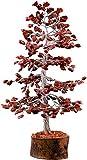 Cartbug Red Jasper Gemstone Bonsai Money Gift Tree Crystal Cleansing Reiki Healing Feng Shui Prosperity Stones & Crystals Positive Energy Gem Figurines Good Luck Chakra Balancing 10 Inch Silver Wire