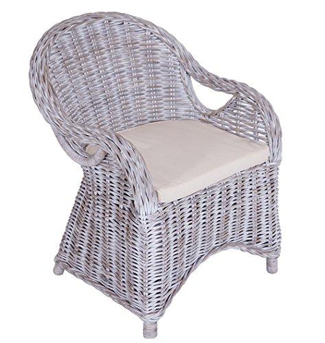 Vintage Line 2er Set Armlehnenstuhl Roma Rattan Geflecht White Wash Armchair inkl. Sitzkissen
