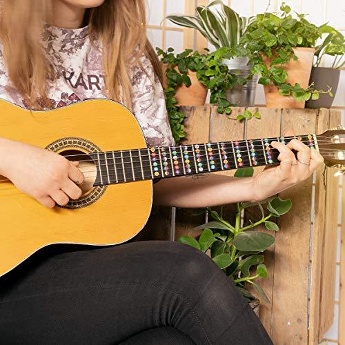 kwmobile Adhesivos para aprender a tocar la guitarra - Pegatinas para aprendizaje de guitarra acústica y eléctrica - Para el diapasón - En negro