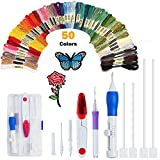 MEW Embroidery Starter Kit Full Set, Punch Needle Set Magic Embroidery Pen, 50 Color Threads for DIY Sewing Embroidery Cross Stitch