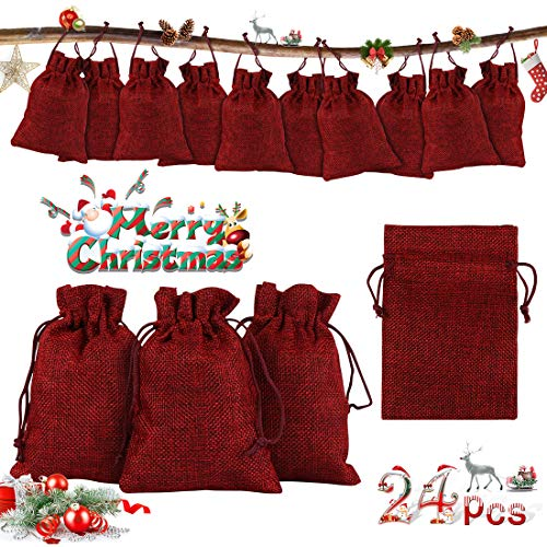 O-Kinee Calendrier de l'Avent,24 pcs DIY Sachets en Jute pour Calendrier de l'Avent à Remplir,Sachets en Jute,Pochettes Naturelles,Sac Cadeau de Noël Rempli,10cm x 14cm (Vin Rouge)