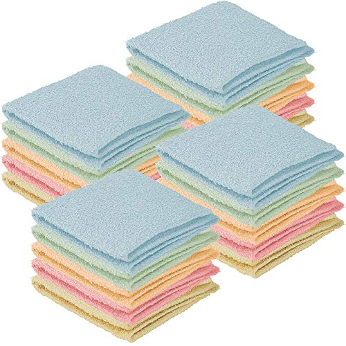 DecorRack 20 Pack 100% Cotton Wash Cloth Luxurious Soft 12 x 12 inch Ultra Absorbent Machine Washable Washcloths Assorted Colors 20 Pack