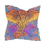 Linomo Bufanda de seda de gasa para mujer, elefante indio, animal cuadrado, chal de seda como bufanda