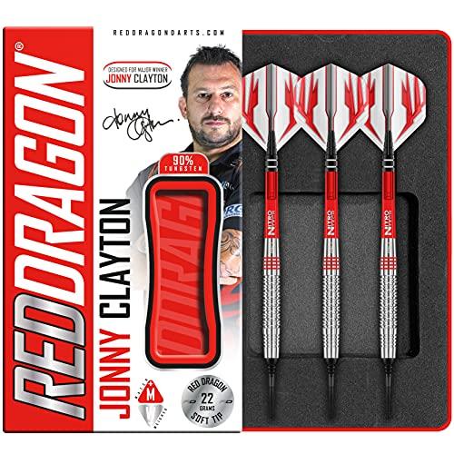 RED DRAGON Jonny Clayton 20g Fassgewicht, 22g Gesamtgewicht Softip Tungsten Darts mit Flights und Schäfte